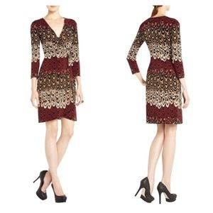 BCBGMaxAzria Adele Feather Print Wrap Jersey Dress